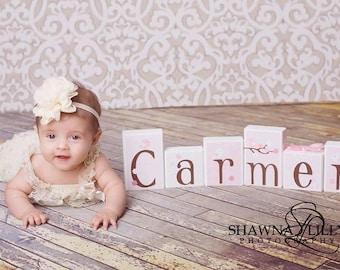 Migi Blossom . Photo Prop . Baby Name Blocks . Carmen