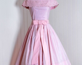 81ab3ca5a31155 1950's Vintage Gigi Young Designer-Couture Pastel Light-Pink Cotton and  French Floral-Lace Portrait Shawl-Collar Belted Bow-Tie Rockabilly  Ballerina-Cupcake ...