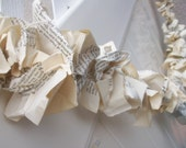 VINTAGE Book pages Garland with Stars and Dream glitter Letters upcycled repurposed library