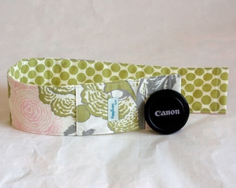 Camera Strap Cover with Padding and Lens Cap Pocket-Fresh Poppies and Full Moon combo
