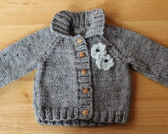 Baby hand knitted cardigan 3 - 6 months