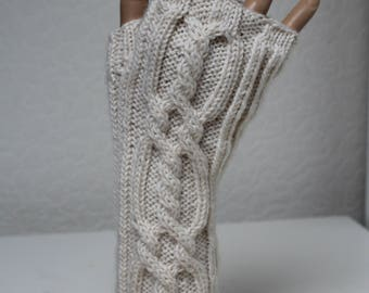 Hand knitted Cream cable wristwarmers/fingerless gloves in pure wool
