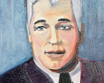 "Original Art Print on Canvas 11/""x14/"" Perry Mason /""Della Street/"" Outsider Pop Art"