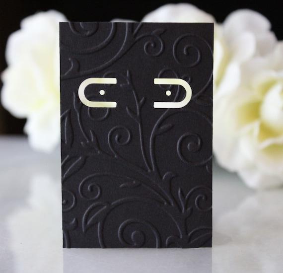 Earring Cards 2x3 Black Embossed Retail Display Etsy