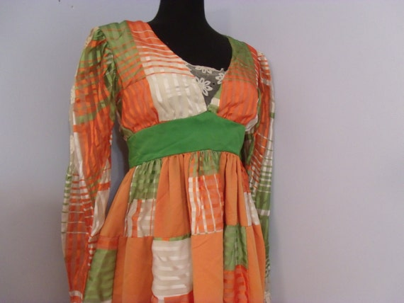 Boho Maxi Dress - 1970s Hippie Flower Child Gown