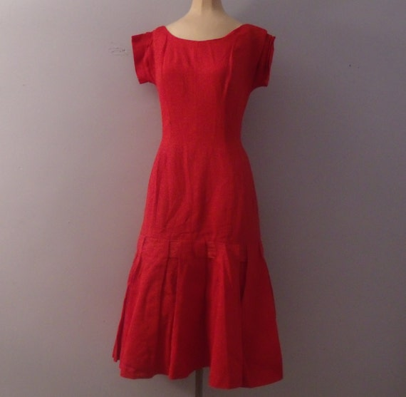 Red drop waist cocktail dress 1960s