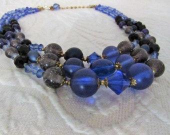 Stellar Blue Vintage Triple Strand Necklace - 1960s - BLUE ENCHANTMENT Choker