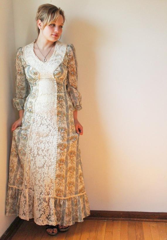 Cottagecore 1970s Designer Gown - Boho Maxi Dress