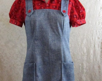 Cute Country 1970s Overall Tunic