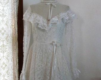 Prairie Girl Wedding Gown / Alfred Angelo / Gunne Sax Style / Meadow Dress