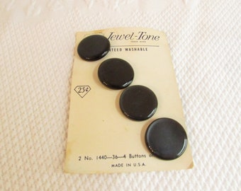 Charcoal Dark Gray / Black Buttons for Coat, Jacket or Heavy Sweater, Set of 4, Vintage Seventies Shank Buttons on Card