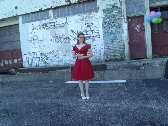 1940s Vintage Red Brocade Party Dress - Altered Vi