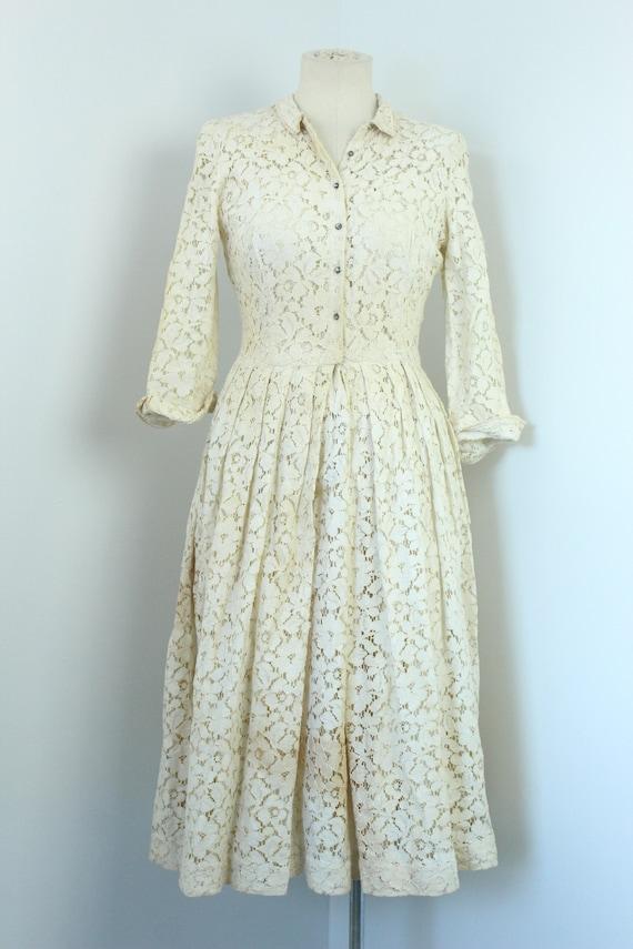 1940's Lace Tea Dress Designer Jonathan Logan