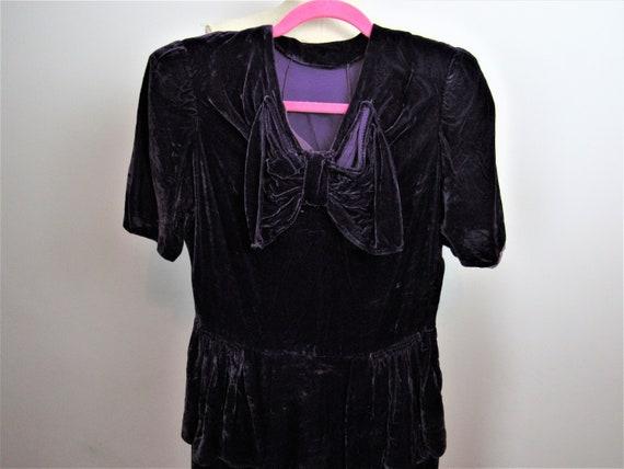 1940s Royal purple Velvet Dress
