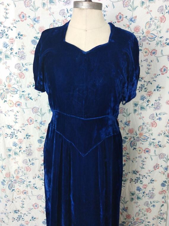 1940s royal blue silk velvet gown