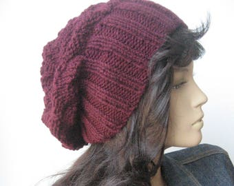 Burgundy Slouchy Hat, Vegan Knits, Oxblood Knit Hat, Beanie Hat, Gifts For Her, Slouchy Beanie
