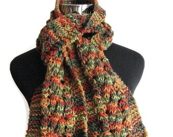 Fall Colors Cable and Lace Knit Scarf, The Stef Scarf, Vegan Knit Scarf, Green Knitted Scarf, Womens Accessories, Winter Scarf