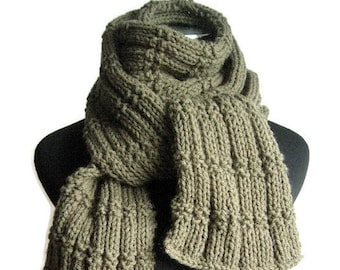 Hand Knit Scarf, Long Knit Scarf, Vegan Knits, Men Scarf, Men Accessories, Long Scarf, Winter Accessories