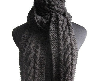 Hand Knit Scarf, Black Cable and Lace Scarf, Fall Scarf, The Stef Scarf, Vegan Knit, Cable Scarf, Womens Scarf, Winter Accessories