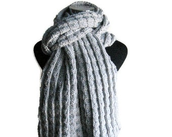 Hand Knit Scarf, Vegan Knits, Mens Accessories, Vegan Scarf, Light Grey Scarf, Long Scarf, Winter Fashion, Womens Accessories, Mens Scarf