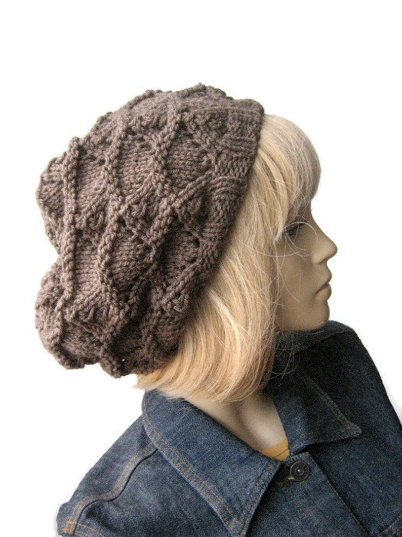 c3790e3aabc Taupe Heather Knit Hat Taupe Lacy Slouchy Fall Fashion The