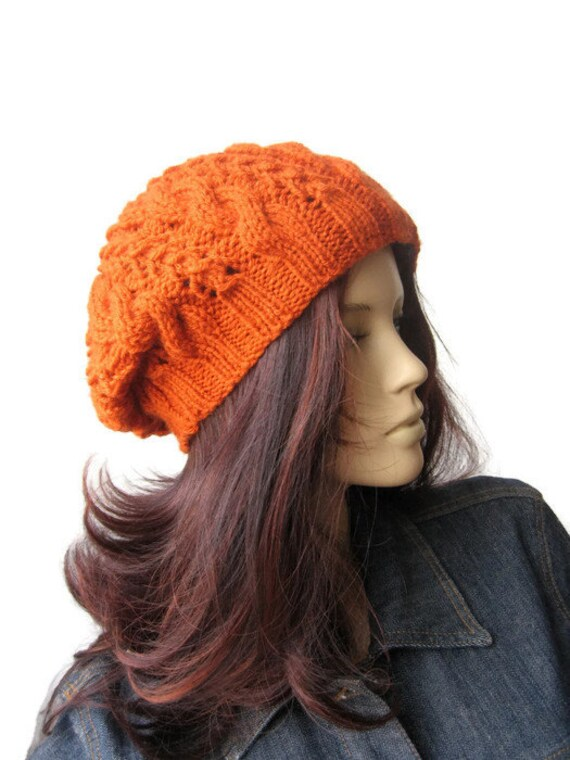 bc791e90fe8 Orange Hand Knit Hat Cable Slouchy Hat Vegan Hat Orange