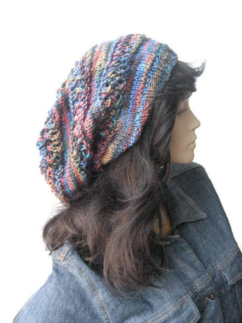 37826058460 Hand Knit Hat Multicolor Blue Lace Striped Slouchy Hat Fall
