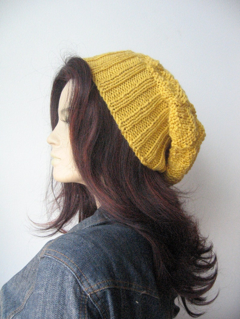 22df0537c59 Yellow Slouchy Hat Vegan Knits Yellow Knit Hat Beanie Hat