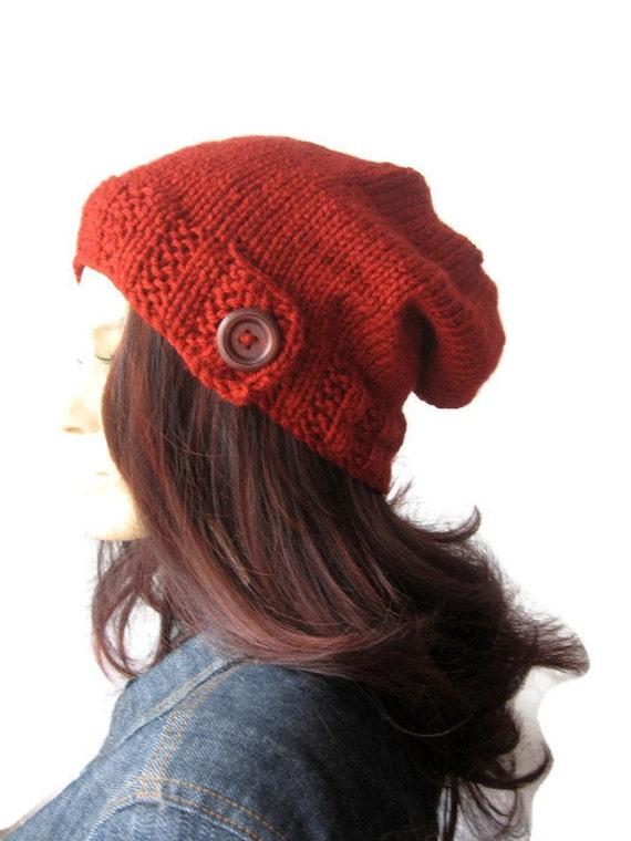 a31fc00140d Brick Knit HatButton Tab Beanie Knit Slouchy Beanie Fall