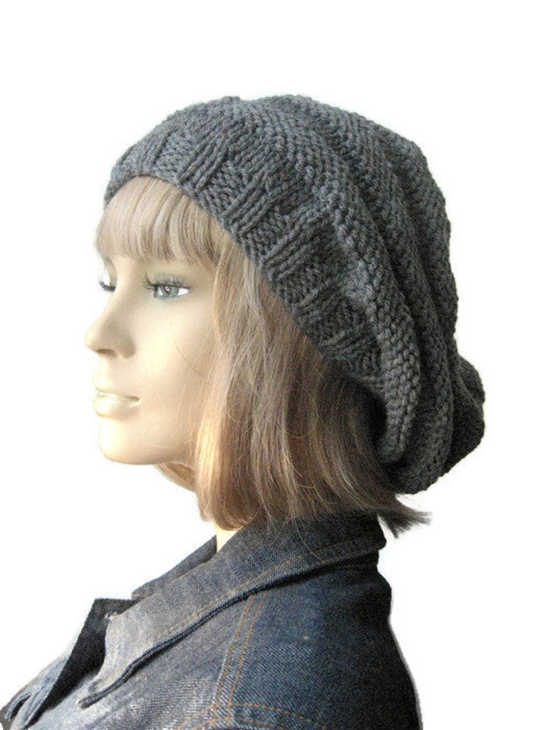 5bed791af31 Grey Hand Knit Hat Beehive Knit Beret Vegan Hat Womens