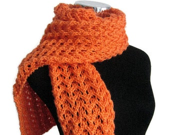 Knit Orange Scarf, Lace Womens Scarf, Spring Fashion, Knit Scarf, Womens Accessories, Vegan Knits