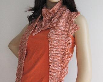Multicolor Orange Garter Stitch Lace Edged Scarf, Women Accessories, Summer Knit Scarf Knit Wrap