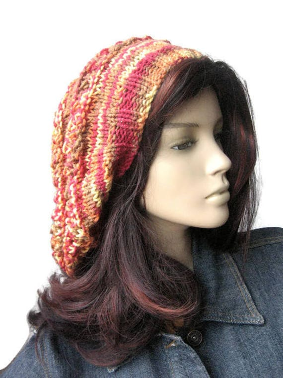 b2be38ec02e Hand Knit Hat Multicolor PinkOrange Lace Striped Slouchy