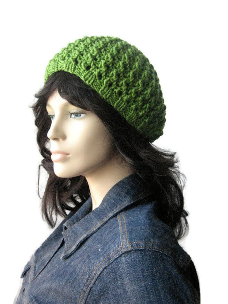 24f7c7bb02b Knit Green Hat Avocado Green Lace Beanie Womens Hat Spring