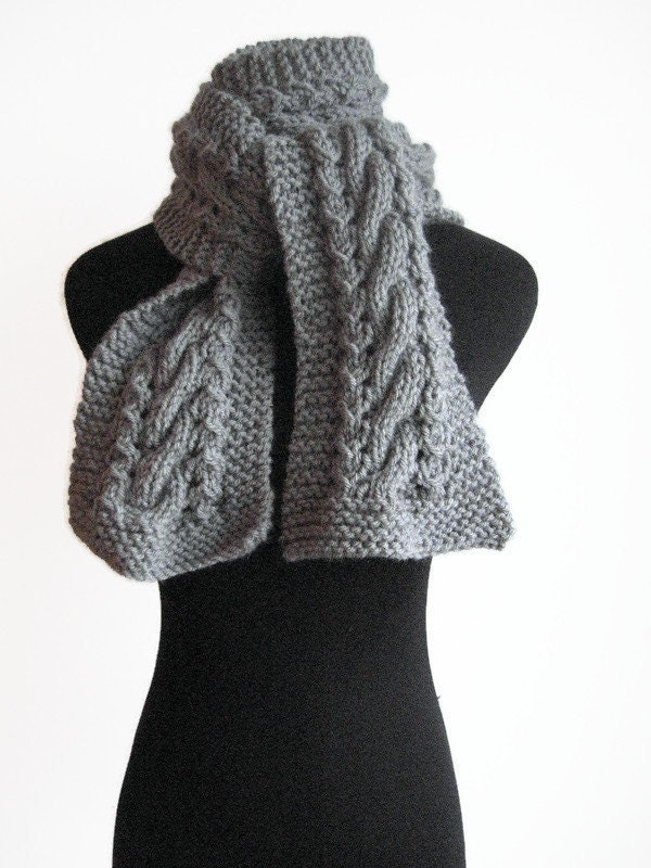 Aran Traditions Womans Ladies Winter Warm Knitted Lace Style Silver Grey Snood