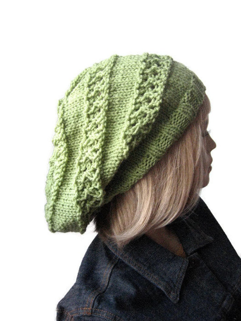 d7495c30858 Hand Knit Hat The Stacey Hat Striped Lace Slouchy Hat Vegan