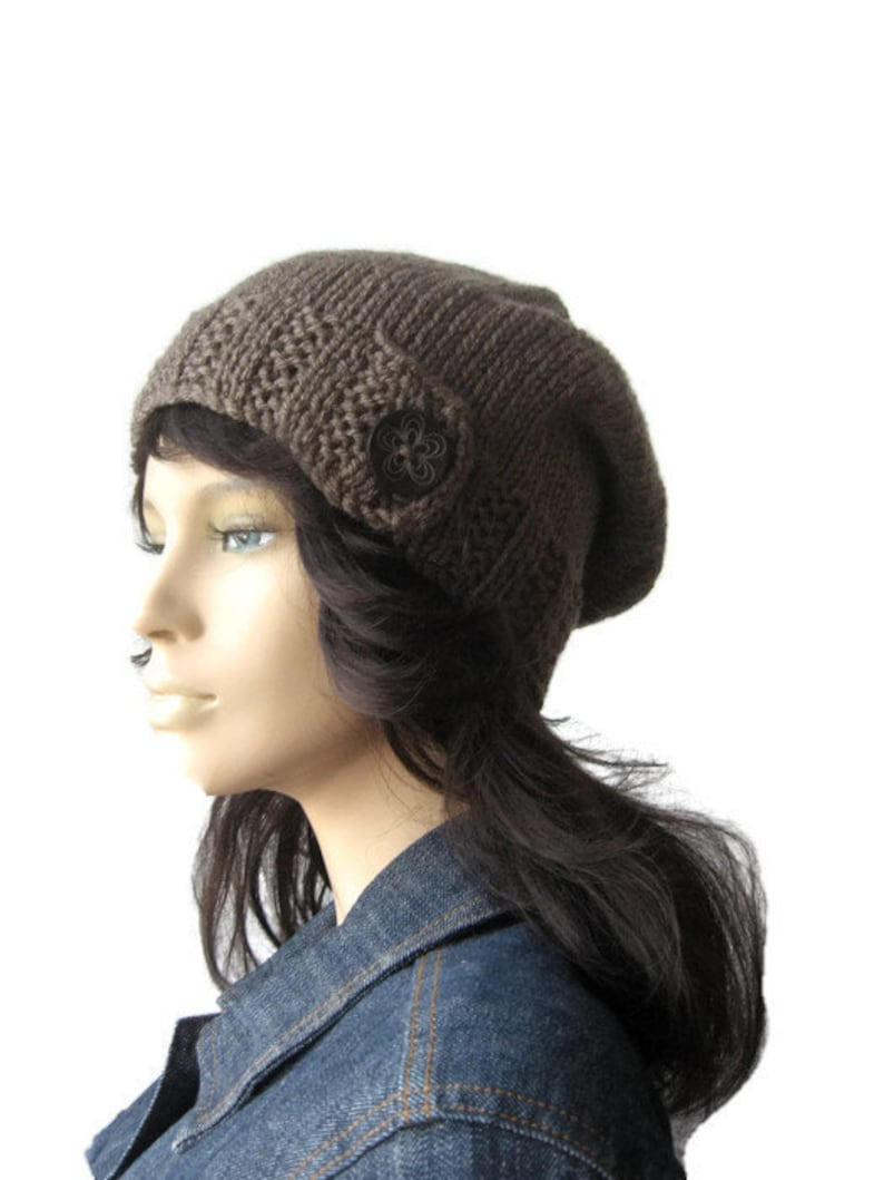 58c9198c5e5 Taupe Hat Wood Button Tab Beanie Hand Knit Hat Knitwear