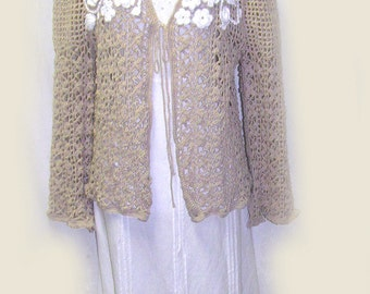 Ladies Tan Crocheted Jacket, Ladies Tan Jacket With White Flower Embellishments, Special Occasions Jacket, Mother of the Bride Sweater