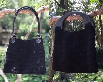 Ladies Black Purse, Ladies Black Bag, Ladies Crocheted Black Purse, Black Purse With Handles, Medium Sz Black Purse, Black Bag, Ladies Gift