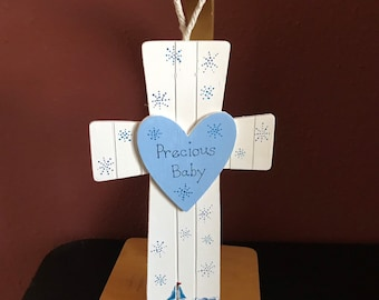 Crosses, Personalized Wooden Ornaments, Hand Painted Wooden Ornaments, Ornament Cross, Baby Gift Cross, Baptism Gift, Christmas Gift