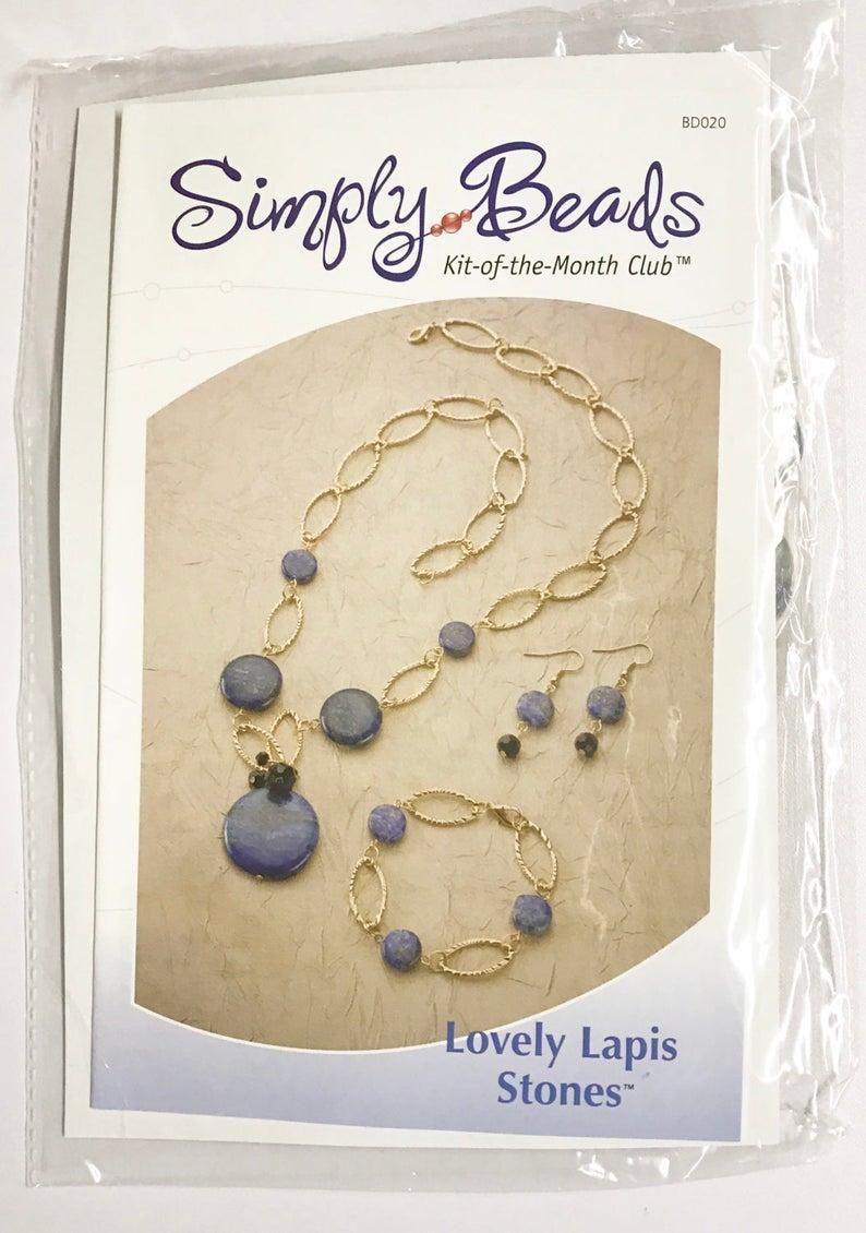 ac6b0b8c39 Free Shipping on Lapis Necklace Kit, Necklace Kit, DIY Necklace Kit,  Jewelry Kit, Lapis Beaded Necklace Kit, Lapis Beads, Earrings Kit,