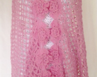 Elegant Shawl, Light Pink Shawl, Evening Shawl, Dressy Shawl, Light Pink Shawl, Wedding Shawl, Elegant Flower Shawl, Valentines Shawl