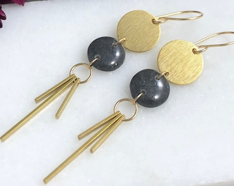 Earrings with Translucent Gray Polymer Clay Circles, Brass Circles, Brass Fringe and 14k Gold Filled Earring Wires PCE-145