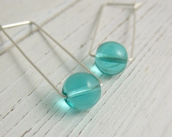 Rectangular Shaped Hoop Earrings with Aqua Blue Glass Beads CHE-317