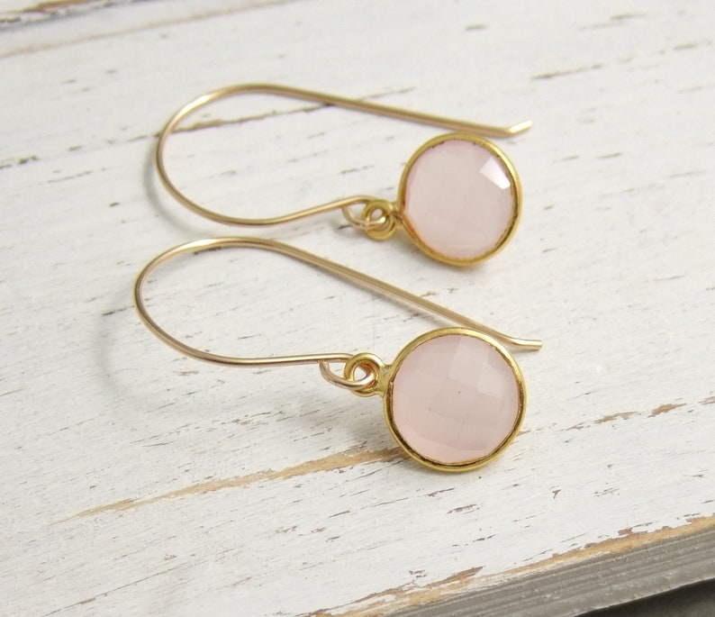 Earrings with Bezel Set Rose Quartz Stones on Handmade 14k Gold-Filled Earring Wires GHE-53