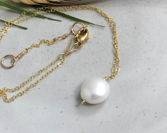 Necklace with a Large, Round, Flat Pearl on a Gold Filled Chain GCDN-127