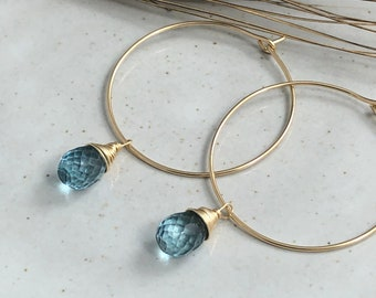 Earrings with London Blue Quartz Teardrops Wire Wrapped with 14k Gold-Filled Wire on 14k Gold Filled Hoops GCHE-51
