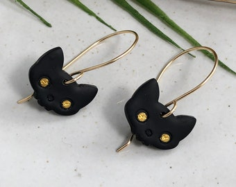 Earrings made with Small, Black Polymer Clay Cats with Gold Eyes on 14k Gold Filled Earring Wires PCE-261