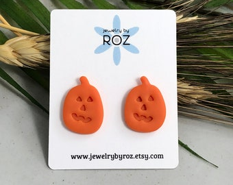 Jack O' Lantern Stud Earrings made with Orange Polymer Clay and Sterling Silver Posts PCE-262