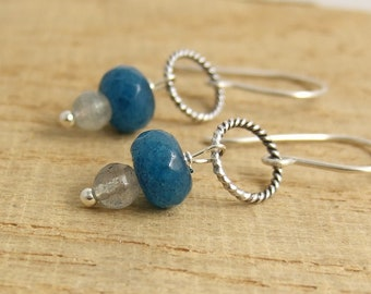 Earrings with Labradorite and London Blue Jade Beads Wire Wrapped to Oxidized Loops and Sterling Silver Earring Wires CHE-355